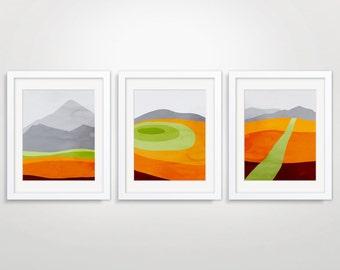 Orange Wall Art Set of 3 Prints, Mid Century Modern Art, Abstract Landscape, Abstract Wall Art Prints, Mountain Print, Orange Abstract