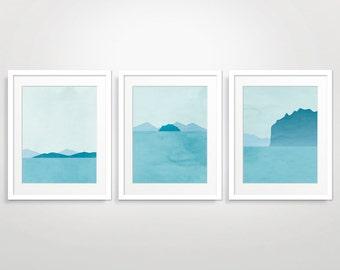 Coastal Decor Beach Art Print Set of 3, Ocean Decor, Blue Wall Art, Ocean Art, Bedroom Bathroom Wall Decor, Teal Blue Abstract Seascape