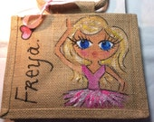Handpainted Personalised Mini Jute Ballet Bridesmaid Handbag Gift Party Bag Celebrity Style