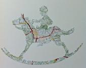 ROCKING HORSE - Nursery Room Original Art - handmade from a vintage map