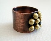 ON SALE ! Ring.Pebbles.copper adjustable ring with lots of shiny golden brass pebbles handmade ring