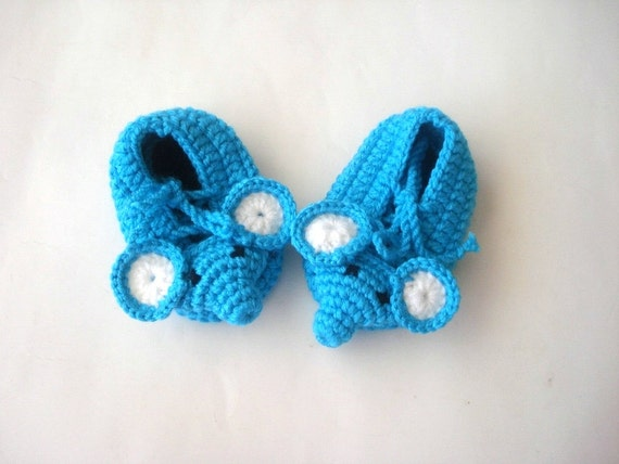 crochet baby shoes turquoise blue elephant Baby Booties baby