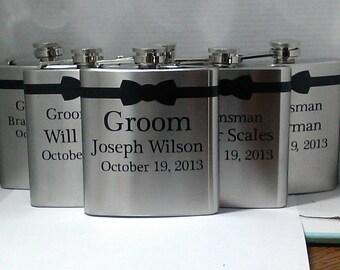 Wedding party flask set- 7 flasks