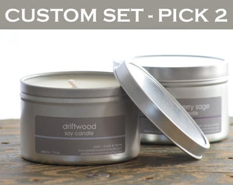 Soy Candle Set - Create your own (pick 2) - 8 oz. tins - scented soy candles - fresh scent candle - summer scent candle