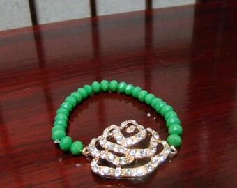1000D,Crystal Rhinestone Rose flower Bracelet
