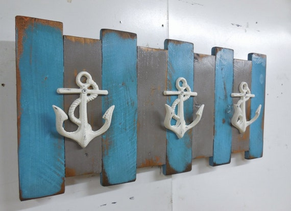 Nautical Coat Rack, Coastal Wall Decor, Beach Coat Rack, Cast Iron Coat Rack