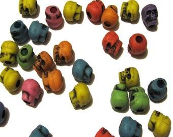50 Circus Multi Color Skull Kandi Pony Beads