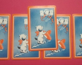 5  vintage playing cards dog with orange sombrero (E2-157-1)