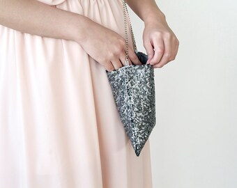 Sequin sparkling Silver Handbag 4002