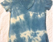 V neck shirt, Plant dyed, XL, Extra large Women's tie dye T-shirt,ORGANIC cotton and recycled fiber,  vegan natural and earth friendly