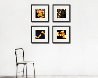 Sparkling Lights Photography, Romance, Night, Set of Four, Wall Art Set, Black Gold Home Decor, Circles, Mystery, Magic