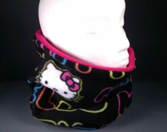 HELLO KITTY Black Neon Tall Ski Gator, Soft Warm Fleece Neck Warmer Gaiter Scarf Headwrap Neckwarmer