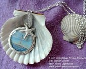 Maine Lighthouse Photo Charm Necklace - 1 inch Circle Epoxy Pendant - Gold/Silver/Bronze - with Photo of  Boon Island Light
