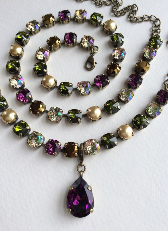 "Swarovski Crystal and Pearl 8.5mm Necklace - ""Medieval Renaissance"" Gorgeous Amethyst, Olive, Luminous Green, Golden Pearls -FREE SHIPPING"