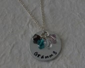 Grammy Hand Stamped Necklace - Gift for Grandmother - Birthstone Jewelry - Pregnancy Reveal - Mother's Day Gift - kg8877