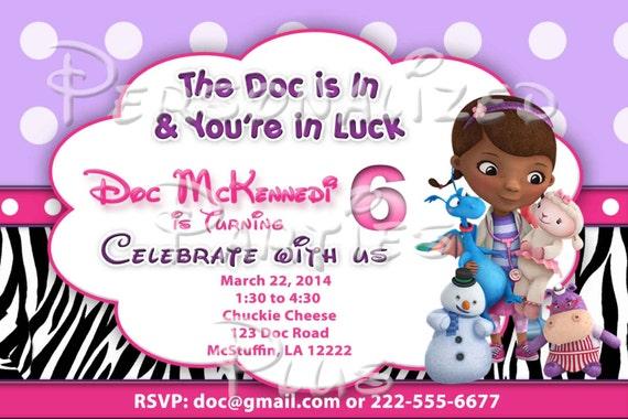 Doc McStuffin Birthday Party Invitations: Zebra print and hot pink, chevron print, polka dots