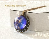 Vintage Purple Dandelion Necklace Sparkly Pendant Eco Friendly Christmas Wish