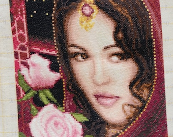 Hand Embroidery Tapestry Gobelin Girl with roses, home decor,wall decor,womans portrait
