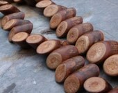 pkg of (10) - Natural Banghaw Wood Beads 16x6mm - 24x10mm Angle Cut and Side drilled Cylinders - miniture logs