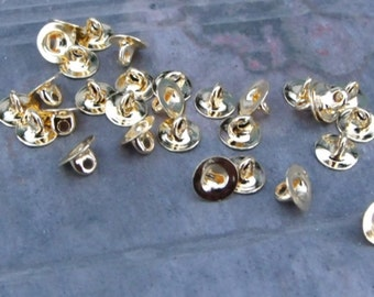 pkg of (50) - 6mm Button Back - Gold Plated Brass with Shank
