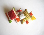 Balsam Sachets - Orange, Beige, Brown, Yellow, Green Circle, Geometrical and Striped Print Fabric - Gift for Her, for Mom - 5 Pieces