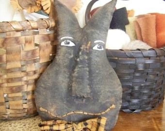 Primitive Grungy Folk Art Fabric Black Cat Halloween Hanger/Greeter/Shelf Sitter