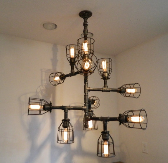 12 Bulb Buzz Chandelier Industrial By MiltonDouglasLampCo On Etsy