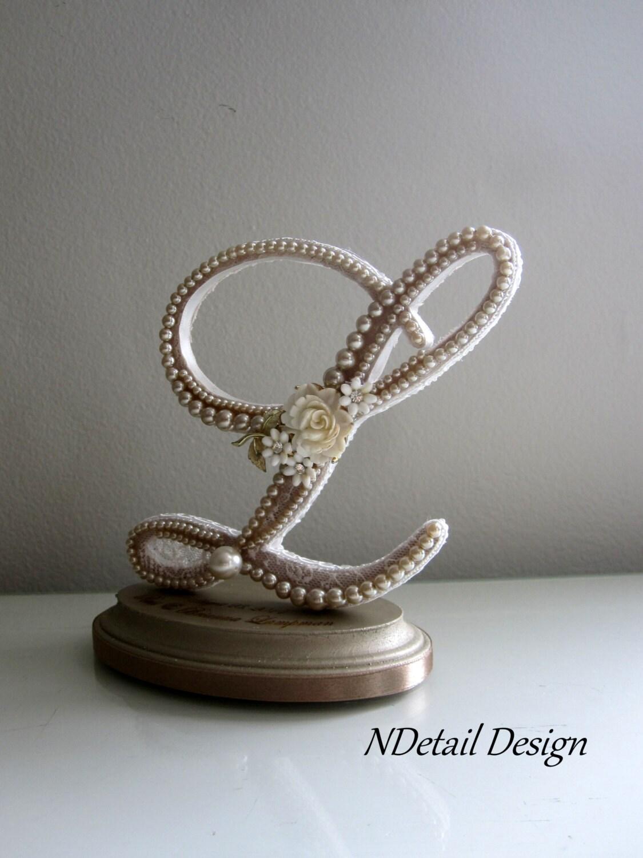 Monogram Pearl Wedding Cake Topper Custom Engraving Letter L