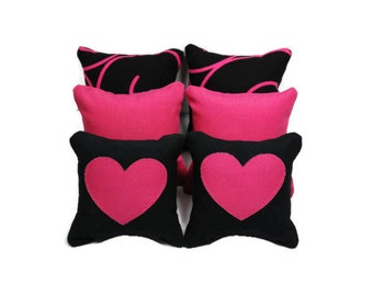 Pink/Black Hearts & Swirls Catnip Pillows (set of 6)