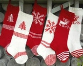 FOR 2016!! Hand knit Christmas Stocking white and red  deer tree snowflake ornaments Personalized  Christmas decoration Christmas gift