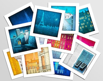 Paris Mini prints, Set of 12 - Fine art illustration Prints Paris art Wall art Paris home decor Living room art Gift ideas for her Colorful