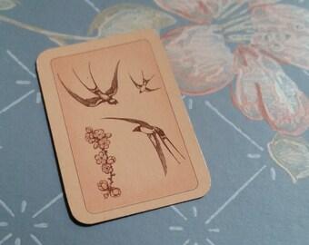 5 Gorgeous Little Vintage Pink Peach Bird Cards Swallows
