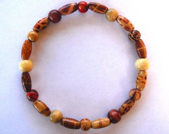 Dog Pet Stretch Necklace Collar Bamboo and Wood Beads -10.5 in Diameter