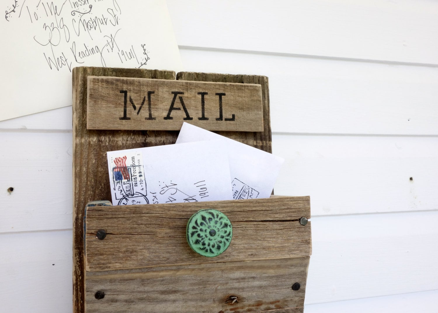Rustic Wall Mounted Mail Organizer With Design By