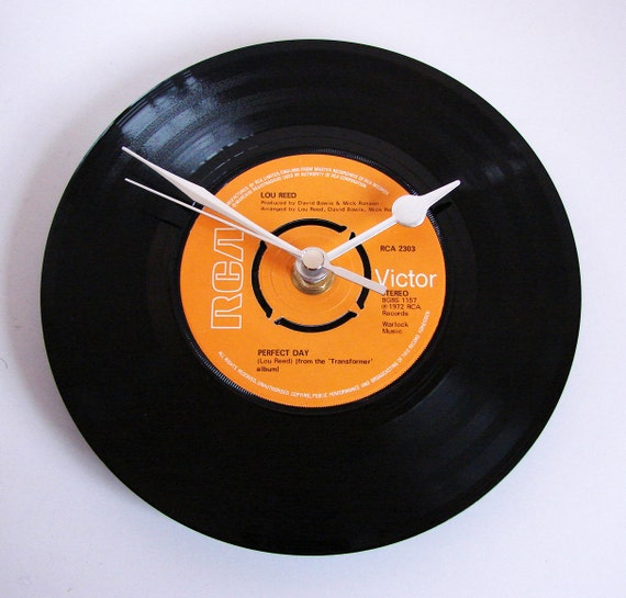 "Lou Reed Vinyl Record CLOCK ""Perfect Day"" recycled 7"" single. wedding gift, anniversary, romantic rocker"