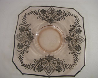 Beautiful Vintage Pale Pink Colored Glass Plate with Silver Filigree