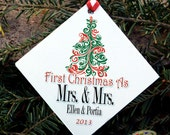 Gay Christmas Ornament Personalized - First Christmas as Mrs. and Mrs. - Same Sex Newlywed Holiday Ornament - Gay Wedding Gift - LGBT