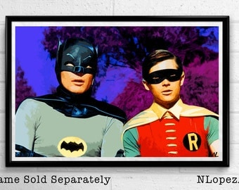 60's Batman Adam West and Robin Pop Art Poster Print Size 11 x 17