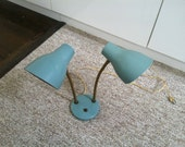 vintage teal double table lamp