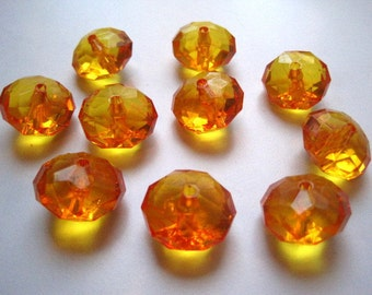 10 Orange Faceted Abacus Beads, 23mm, Translucent Rondell, Chunky Bead, Bubblegum Bead, Acrylic Bead, Plastic Bead, Necklace Bead