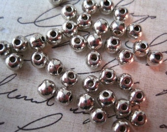 Spacer Bead, 4mm Round Spacer Bead, 100 pcs Silver Color Spacers, Lead Free, Cadmium Free