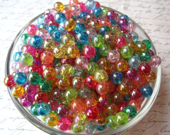 Small Beads, 8mm Translucent Beads, 50 pcs, AB Coating, Mixed Color Bubblegum Bead, Gumball Beads, Acrylic, Bracelet Beads, Spacer Beads