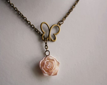 Butterfly flower necklace vintage rose charm pendant romance charm bronze jewellery accessory bridesmaid wedding cottage chic