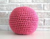 XS Pouf, Raspberry Crochet Pillow