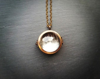 Antique Bronze Double Sided Magnifying Bubble Glass Locket Necklace, Globe bubble glass shadow box locket