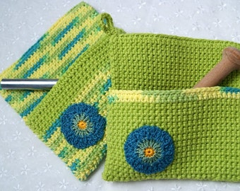 Pocket Pot Holders, Hand Crocheted, Lime Green, Blue, Kitchen Accessory, Gift Basket Accent, Wedding Gift, Oven Mitt