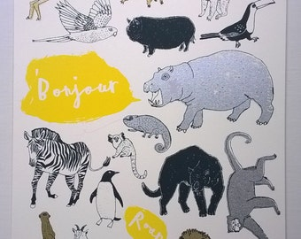 jungle animals  screenprint - Roar Bonjour