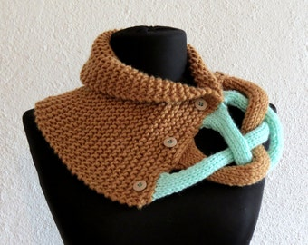 Camel Neckwarmer Braided Cowl, Scarflette, Neckwarmer, Camel Mint Infinity Scarf Knitted Chunky Scarf, Woman Accessory, caramel mint SCARVES