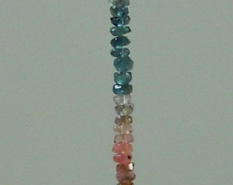 Rare Untreated Natural Watermelon Tourmaline Hand Faceted Rondelle Beads Whole Strand 2mm - 3mm