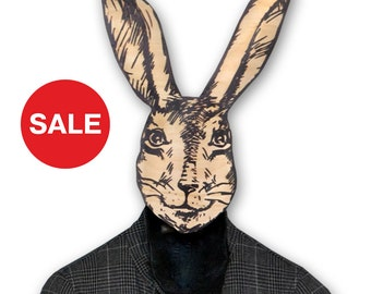 Sale 30% OFF Unique hanger - hook - mask - decor - She - Rabbit, use it for clothes or as a decor item. Thick quality birch plywood